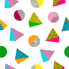 Colorful geometric seamless pattern. Bright background. 80's - 90's years design style.