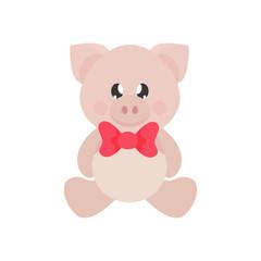 cartoon cute pig sitting with tie