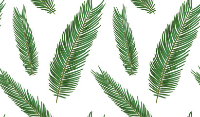 Seamless pattern with sago palm tropical seeded branch, green leaves cute wallpaper watercolor style. Vector boho elegant print isolated on white background