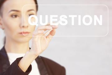 Wall Mural - Businessman presses button question web virtual digital electronic user interface.