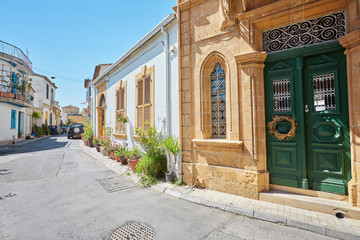 Selimiye street view around Selimiye Mosque in North Nicosia.