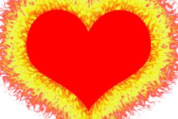 Cuore rosso con contorno incandescente