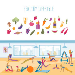 Healthy lifestyle vector illustration. Young women doing exercises, yoga poses, running, fitness. Fruit, vegetable icons.
