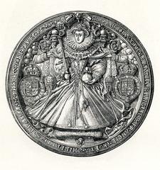 State seal of Elizabeth I of England (from Spamers Illustrierte Weltgeschichte, 1894, 5[1], 600)