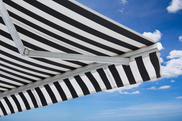 black and white striped awning isolate on white background