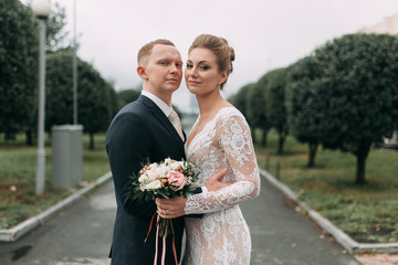 Wedding in the European style in the studio and on the street.Loft style