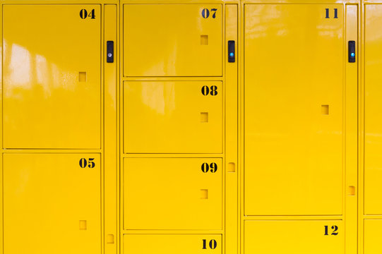 yellow metal lockers background and texture