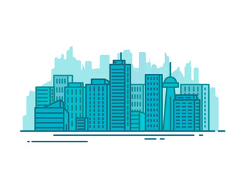 City with buildings and skyscrapers on background. Flat style line vector illustration. Business city center with modern houses. Business center of town. Clouds and sky. Park and smart city concept.