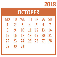 October. Tenth page of set. Calendar 2018, template. Week starts from Monday. Vector illustration