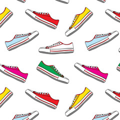 Seamless pattern with multi-colored textile sneakers