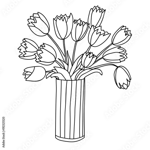 Cute Cartoon Flowers In Vertical Striped Vase Tulip Stock Image
