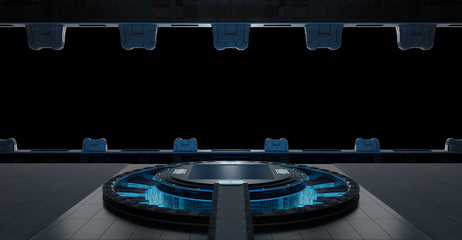 Llanding strip spaceship interior isolated on black background 3D rendering