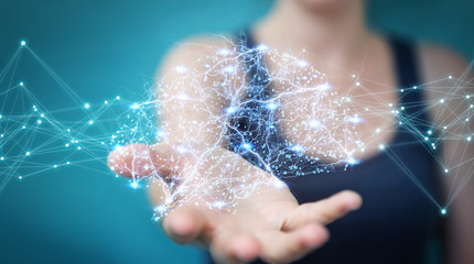 Businesswoman using digital x-ray human brain interface 3D rendering