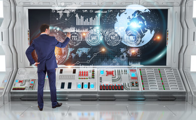 Businessman using graph screens interface on a board 3D rendering