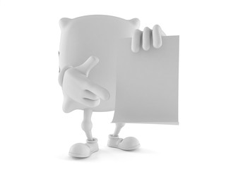 Pillow character with blank sheet of paper