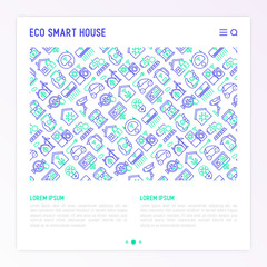 Eco smart house concept with thin line icons: solar battery, security, light settings, appliances, mobile app control, electrocar. Energy saving and new technologies vector illustration.