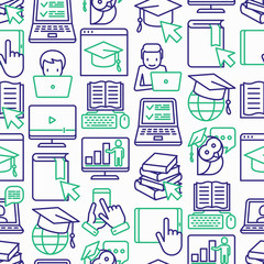 Online education seamless pattern with thin line icons: online course, webinar, e-book, video conference, home studying, wise owl in graduation cup. Modern vector illustration.