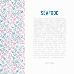 Seafood concept with thin line icons: lobster, fish, shrimp, octopus, oyster, eel, seaweed, crab, ramp, turtle. Modern vector illustration for restaurant menu.