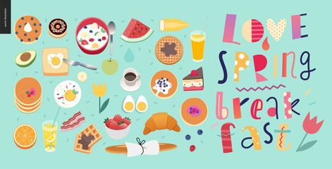 Love, spring, breakfast Lettering composition and a set of breakfast meal on the green-blue background