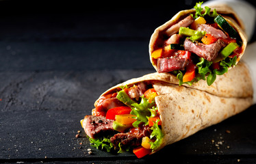 Tortilla wraps with tender entrecote beef steak
