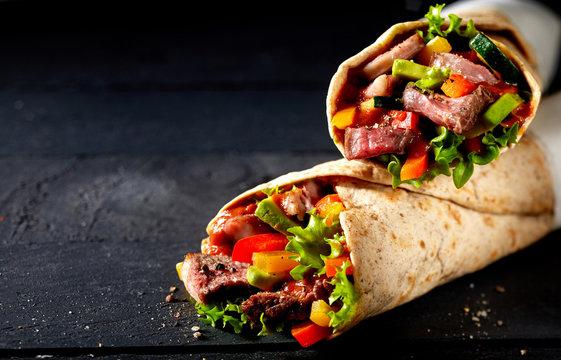 Tortilla wraps with tender entrecote beef steak