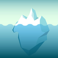 Big blue iceberg floating on water waves with underwater part vector illustration flat cartoon style