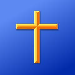 Christian cross icon vector illustration.