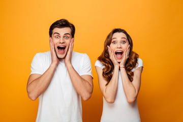 Portrait of an excited young couple screaming