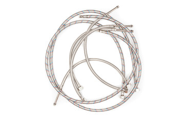 Water flexible hoses on white background