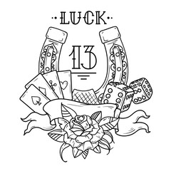 Horseshoe with playing cards,dice,shamrock clover and number 13. Black and white illustration