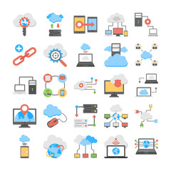 Web Hosting and Cloud Computing Flat Vector Icons