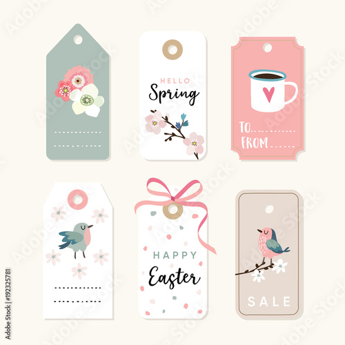 Set of spring easter gift tags and labels with flowers cherry set of spring easter gift tags and labels with flowers cherry blossoms birds negle Choice Image