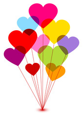 10 Colored Heart-Balloons