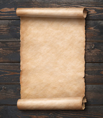 parchment on wood wall 3d illustration