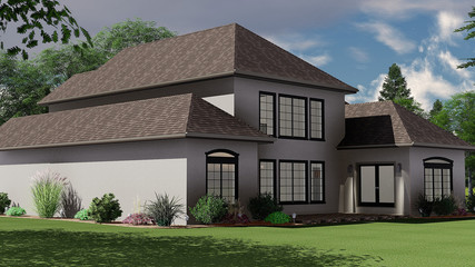 3D Illustration of a French Style Country House