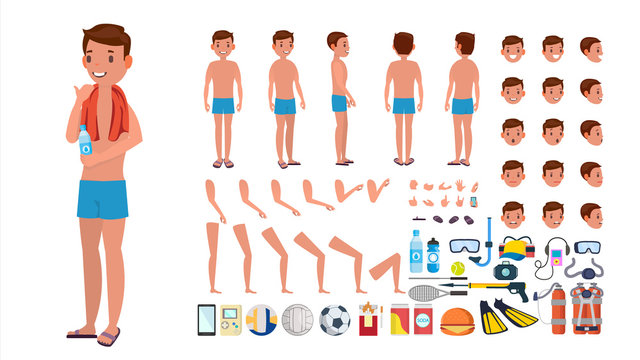 Man In Swimsuit Vector. Animated Male Character In Swimming Trunks. Summer Beach Creation Set. Full Length, Front, Side, Back View. Poses, Face Emotions, Gestures. Isolated Flat Cartoon Illustration