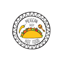 Mexican burrito food doodle symbol. Round shape sign. Fastfood icon.