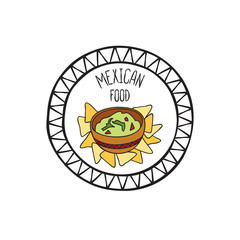 Mexican guacamole food doodle symbol. Round shape sign. Fastfood icon.