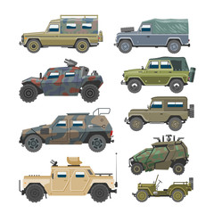 Military vehicle vector army car and armored truck or armed machine illustration set of war transportation isolated on white background