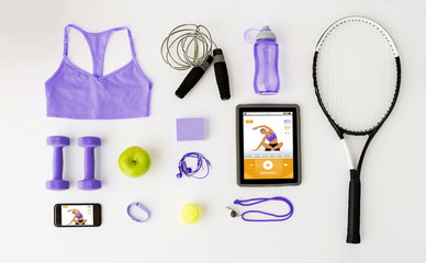 tablet pc, smartphone and sports stuff