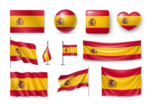 Set Spain flags, banners, banners, symbols, flat icon. Vector illustration of collection of national symbols on various objects and state signs