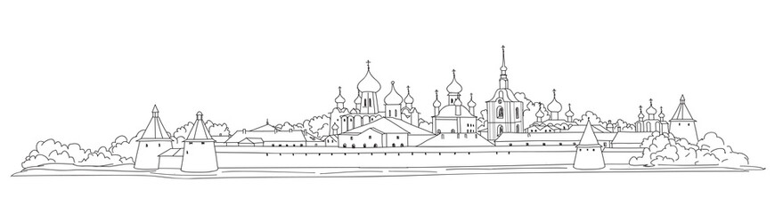 Russian famous landmark. Skyline view. Landscape of Solovki monastery