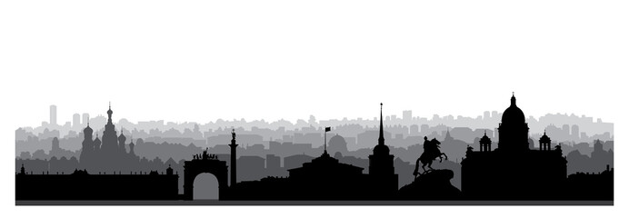 St. Petersburg city skyline, Russia. Tourist landmark silhouette. Russian famous place in Saint-Petersburg panoramic view