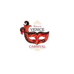 Venice sign with venetian carnival party eye mask. Travel Italy icon