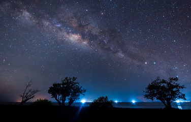 starry night sky milky way galaxy. image contain soft focus, blur and noise due to long expose and high iso.