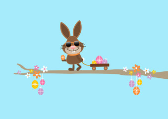 Bunny Sunglasses Handcart Easter Eggs Blue DIN