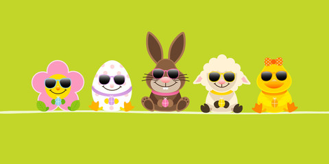 Banner Easter Rabbit & Friends Sunglasses Green