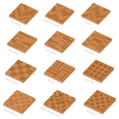 Obraz Parquetry Three Dimensional Parquet Floor PlatesParquetry. Three-dimensional wooden floor plates. Most popular wood flooring parquets with names - isolated 3D vector illustration on white background. - fototapety do salonu