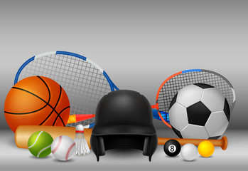 sport equipment with background white and grey colour . vector Illustration