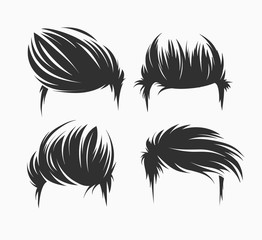 set of men hairstyle and haircuts isolated